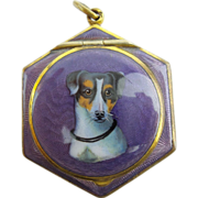 "Antique Purple Enamel ""Jack Russell Dog"" Compact w/ Original Puff."