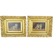 """Antique """"TWIN CATS"""" Oil Paintings on Board  """"Two Precious Cats""""  PAIR"""