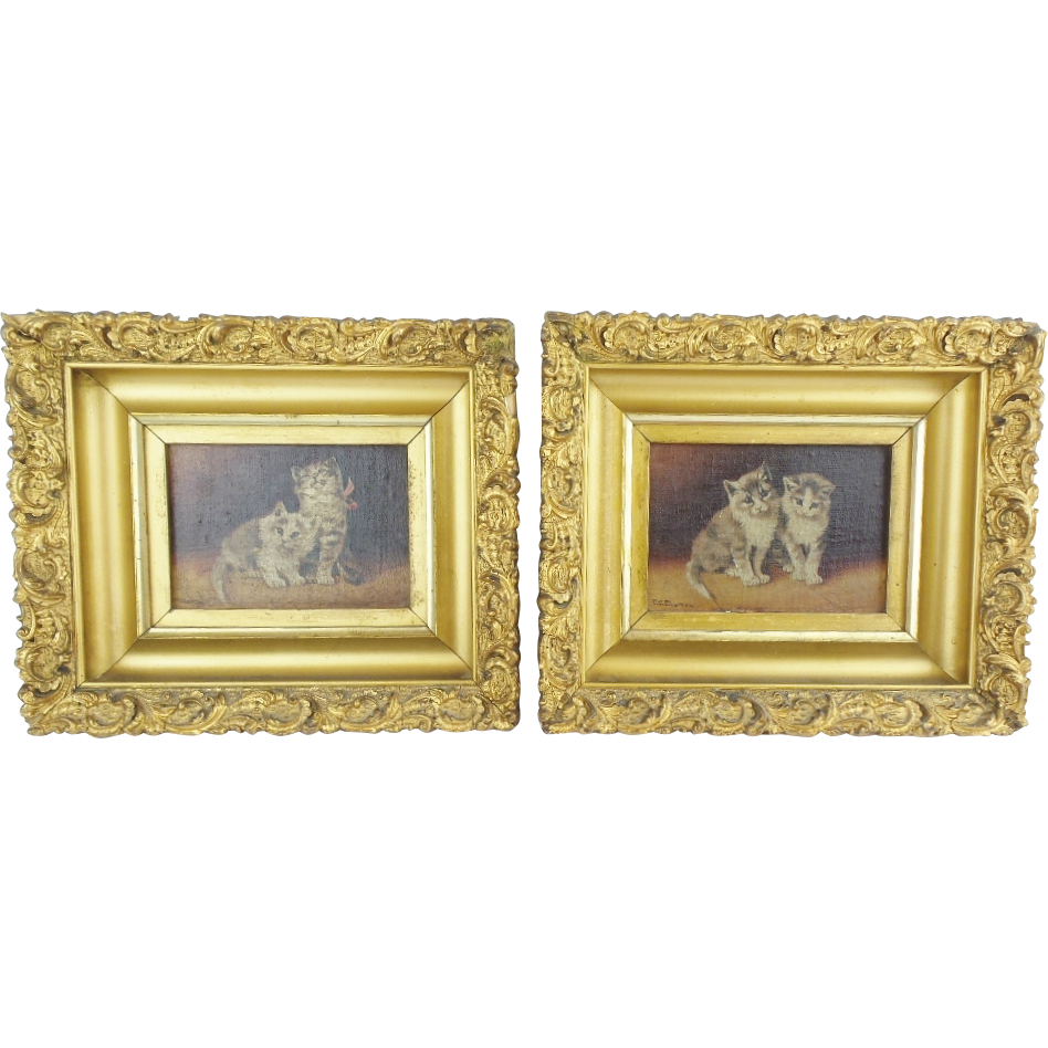 "Antique ""TWIN CATS"" Oil Paintings on Board  ""Two Precious Cats""  PAIR"