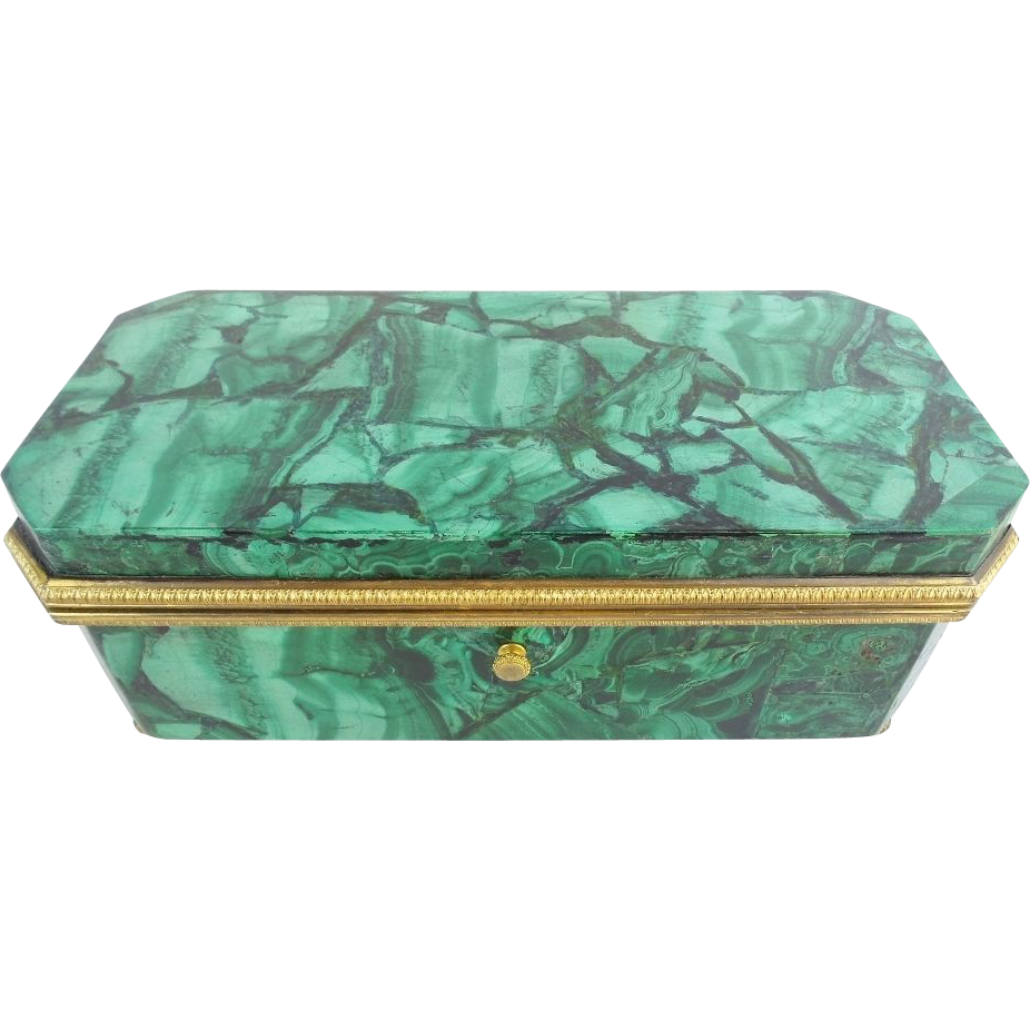 "Antique Malachite Casket Hinged Box  ""FAB Bronze Mounts"