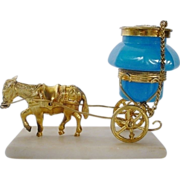 "Antique French Opaline Ink Well Goat Cart   "" A PALAIS ROYAL TREASURE"""