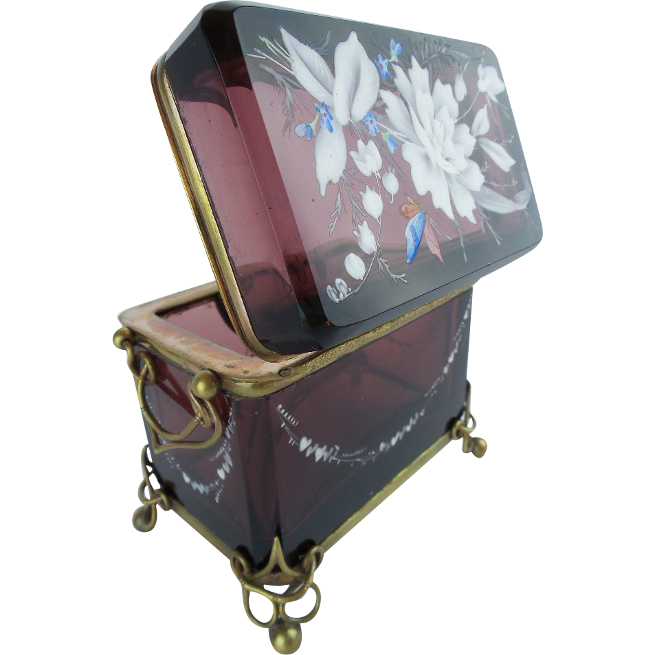 "Antique Moser Double Handle Sugar Box  ""RARE PURPLE"""