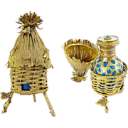 "Palais Royal Scent Caddy with Blue Opaline Bottle ""Thatch Hut"""
