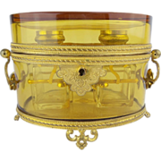 "Antique French Baccarat Double Handles Scent Casket ""'MAJESTIC"""