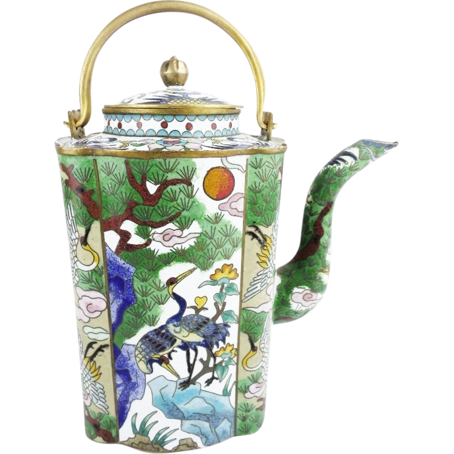 "Spectacular Chinese  Cloisonné Teapot ""Birds, Flowers & Trees"""