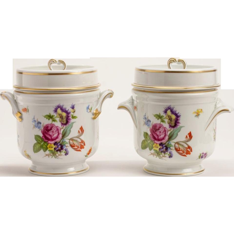 "Pair Antique French Limoges Cachepots ""GRANDEST"""