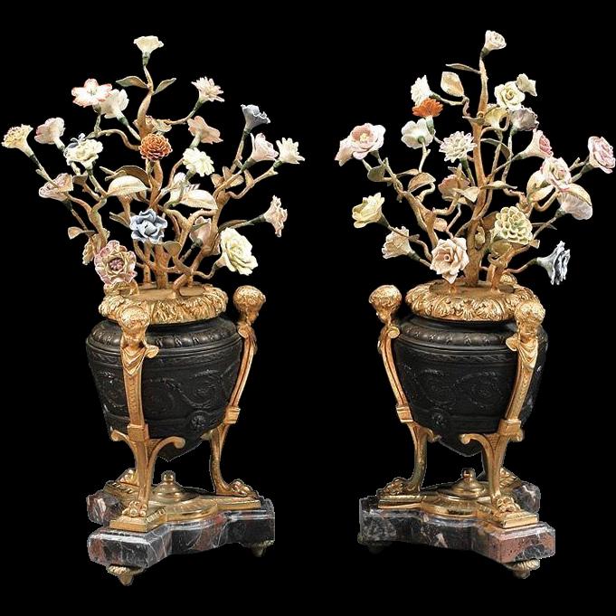 """Antique Louis XVI Style Patinated Bronze Porcelain Urns """" Polychrome Porcelain Flowers"""" MAGNIFICENT PAIR"""