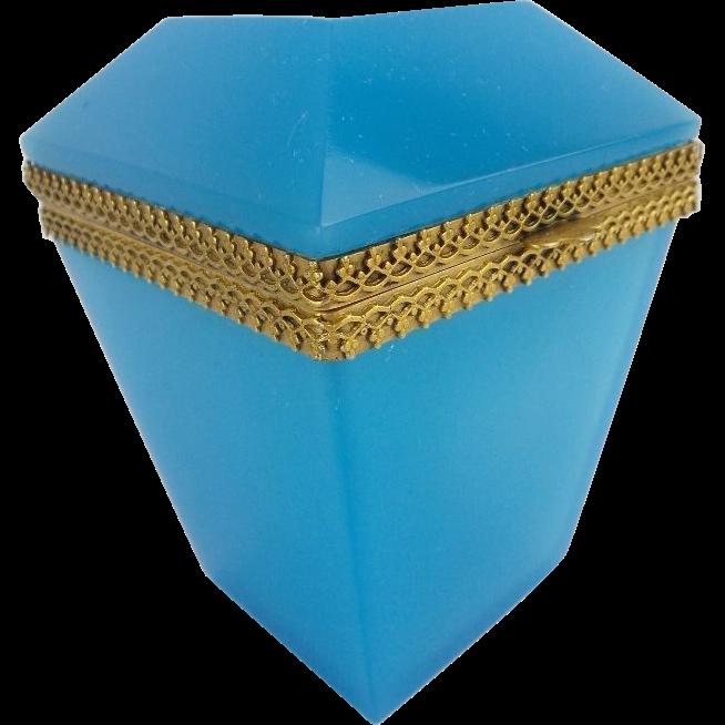 "Antique Blue Opaline Hinge Box ""RARE SHAPE"""