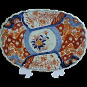 "12"" Antique  Imari Oblong Porcelain Scalloped Edge Bowl Plate  EXQUISITE"