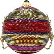 "Judith Leiber Holiday Noel Multi-color Sphere Ornament Minaudiere Clutch Evening Bag  ""NEVER USED"""