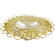 """Antique French Mother of Pearl Basket Trinket """"DOUBLE HANDLE"""""""