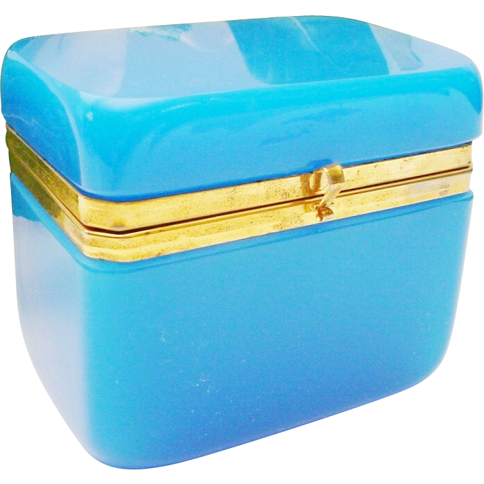 """Antique French Blue Opaline Hinged Box 'BIG AND WONDERFUL"""""""