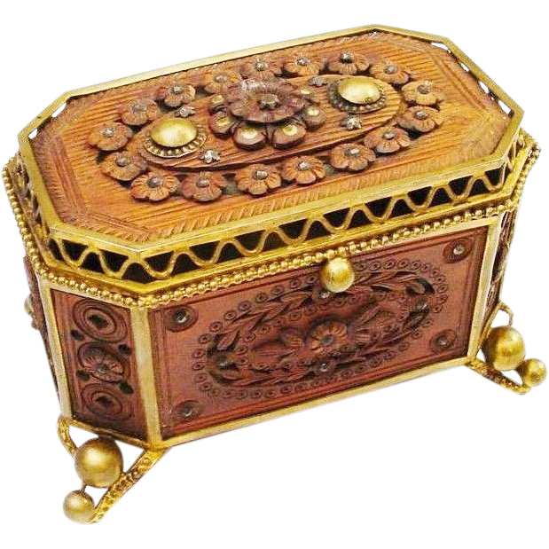 "Antique French Jeweled Wood Craved Casket Hinged Box ""EXQUISITE"""