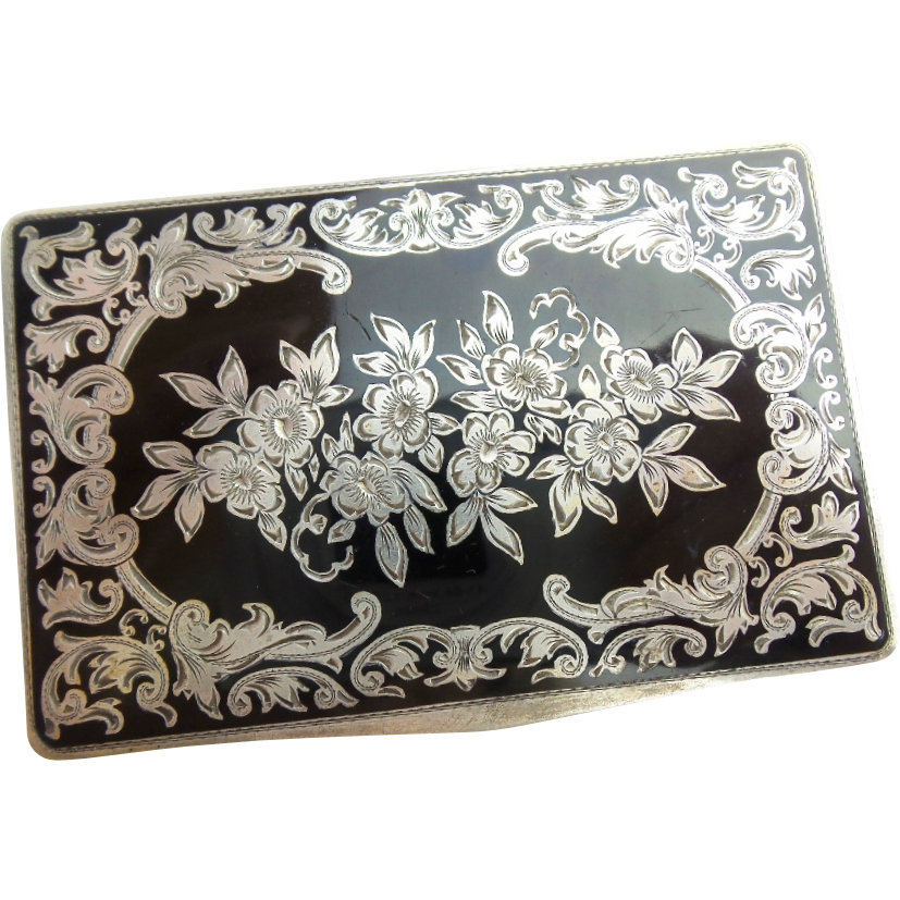 Antique Austrian Sterling Silver Gilt and Black Enamel Hinged Box