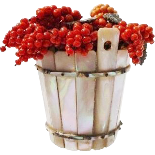 LAYAWAY Antique Mother of Pearl Double Handle Bucket Over Flowing with Red Coral Beaded Grapes and Abalone Leaves