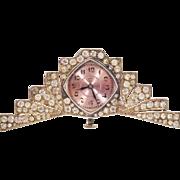 Fabulous     C  PICARD   PARIS   Miniature Silver  Jeweled Clock