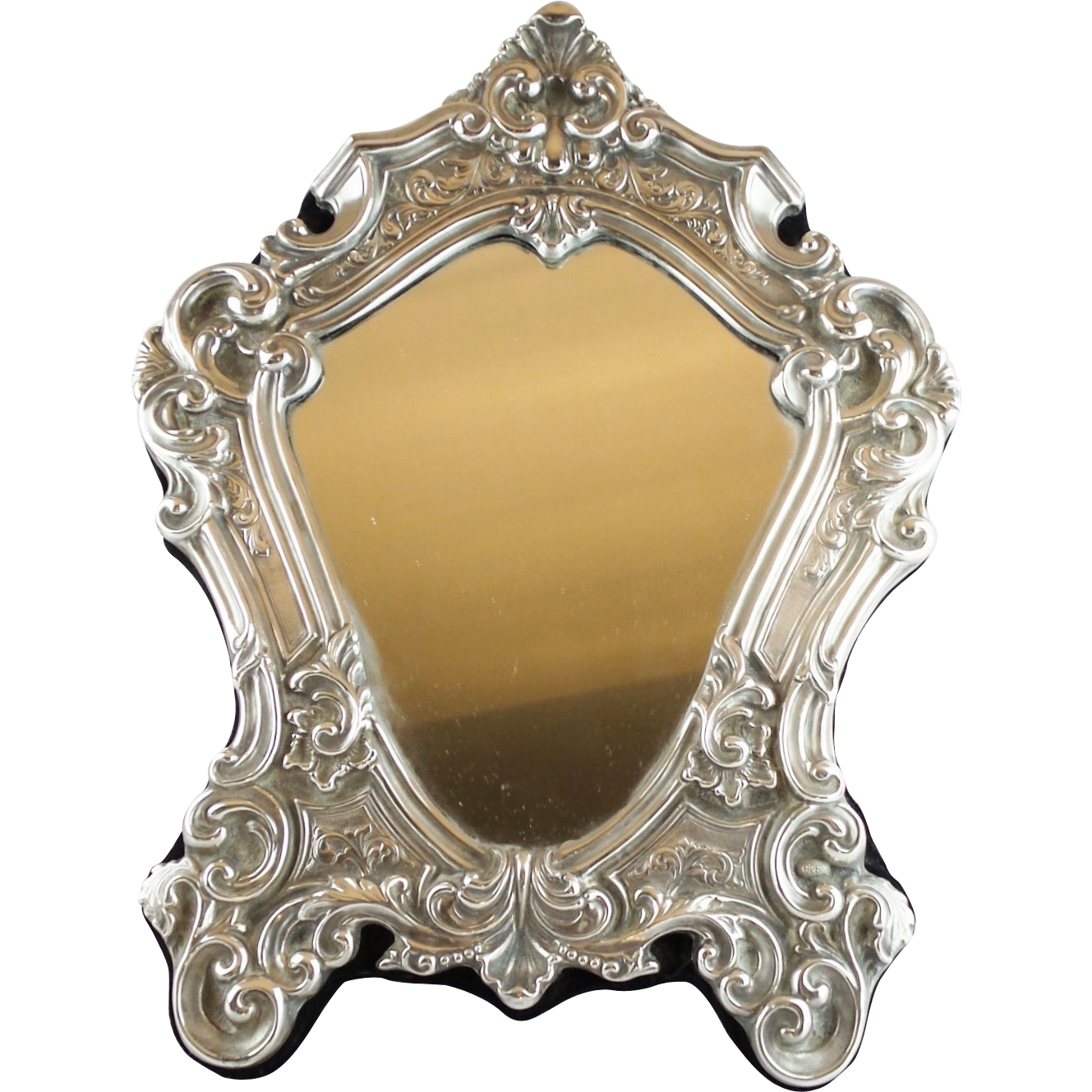 "Antique  925 Silver Vanity Mirror  ""Magnificent and Ornate"""