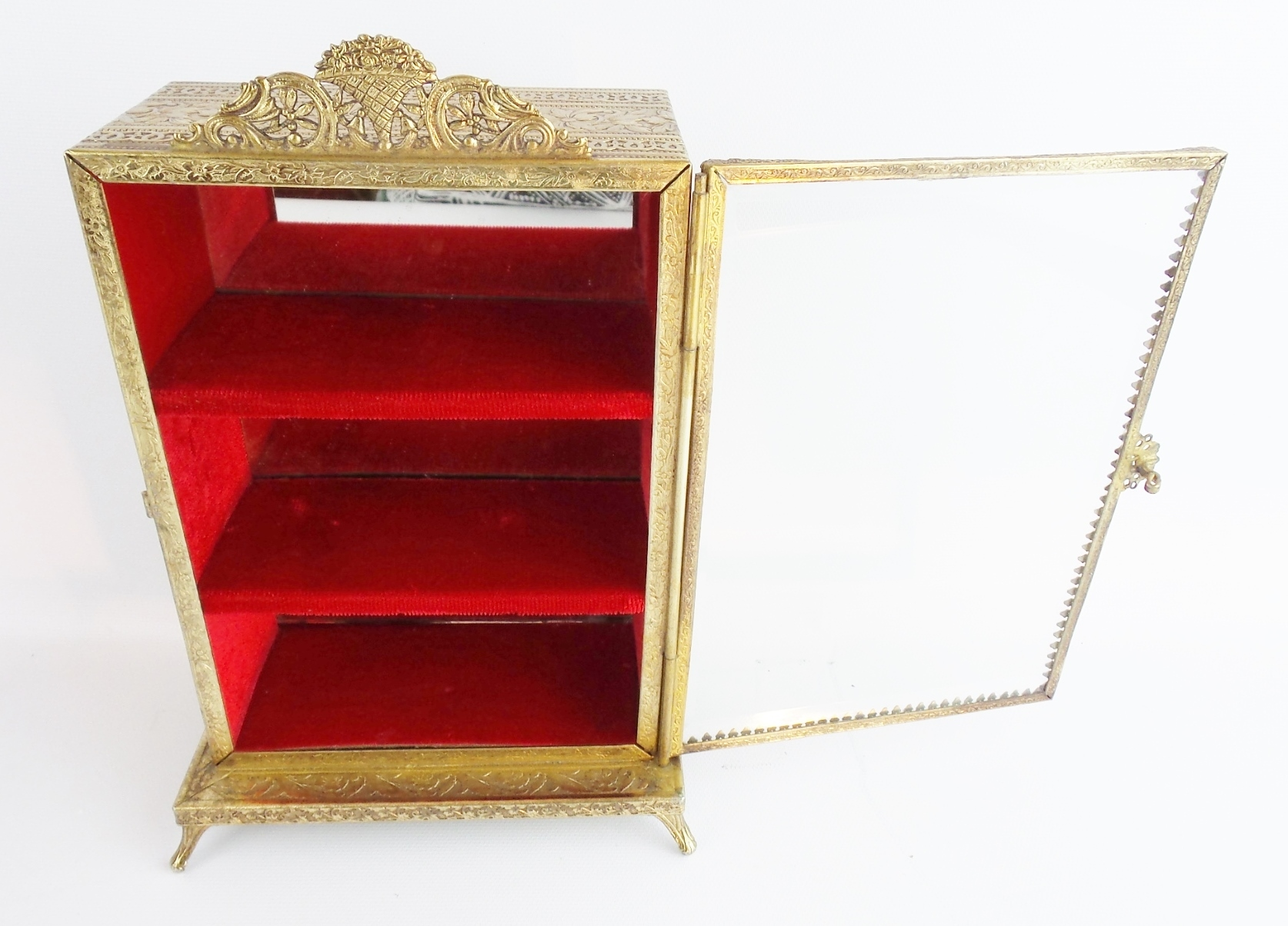 vintage miniature brass vitrine ornate foot base from. Black Bedroom Furniture Sets. Home Design Ideas