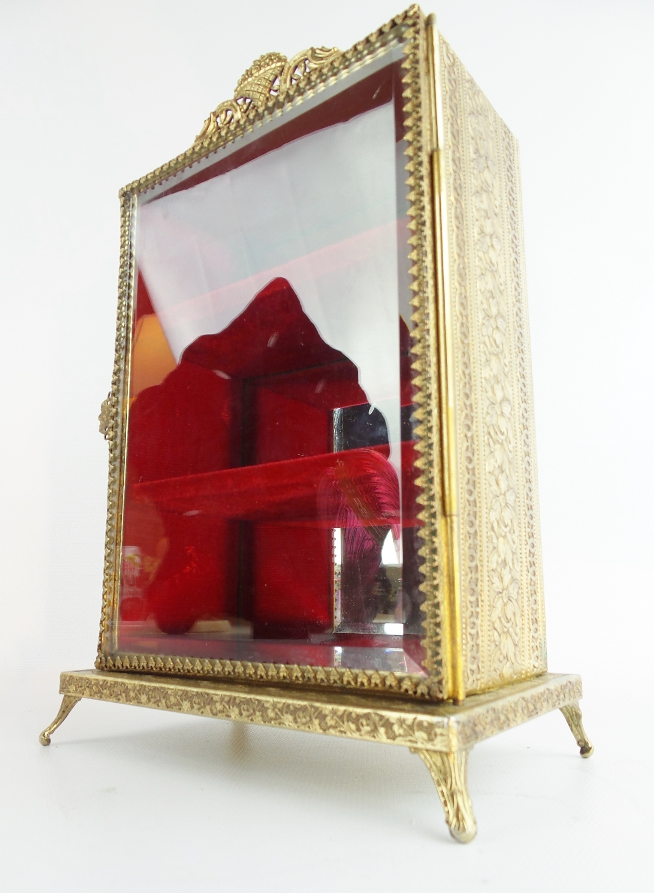 vintage miniature brass vitrine ornate foot base from worldrarities on ruby lane. Black Bedroom Furniture Sets. Home Design Ideas