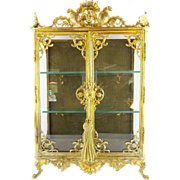 "21 ½"" Antique French Miniature Vitrine Curio Cabinet  ""GRANDEST"""