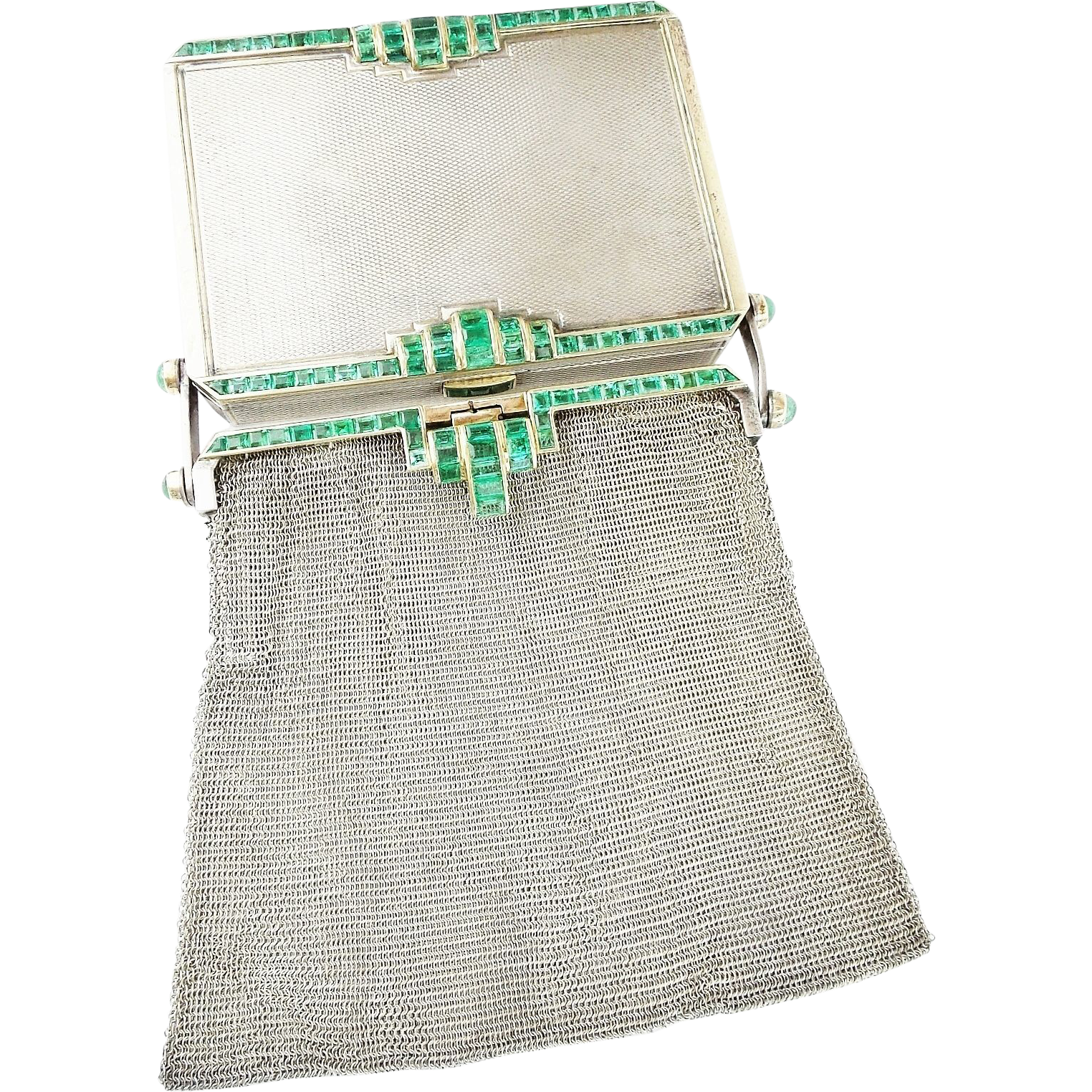 "Antique Silver and Emerald Compact, Mirror, Lipstick, and Mesh Coin Purse ""RARE & MAGNIFICENT"""