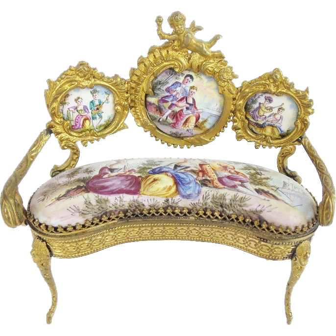 "Antique Viennese Enamel Putti Miniature Settee ""EXQUISITE """