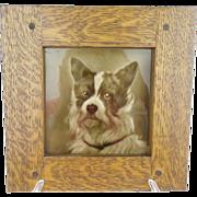 """LAYAWAY  Antique English Porcelain Dog Plaque """"Oak Frame"""""""