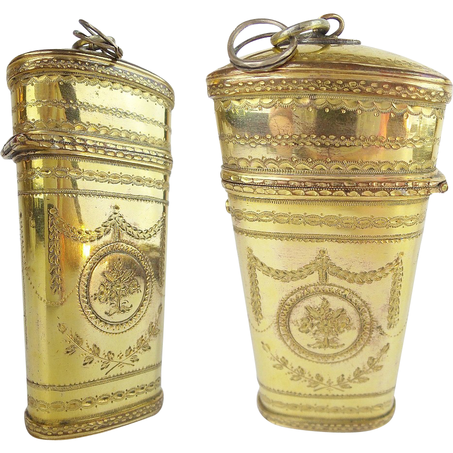 Antique French Gilt Brass Necessaire Etui