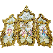 "LAYAWAY. Antique Austrian Enamel Bronze Miniature Three Section Screen ""SUPERIOR Quality"""