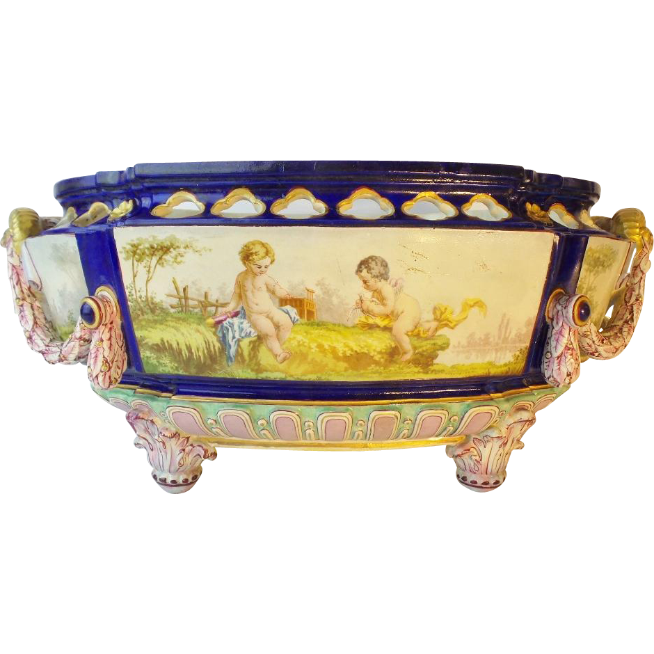 "Antique French Porcelain ""Putti"" Bowl ""RARE Figural Handles"""