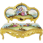 "Antique Viennese Enamel Miniature Settee  ""Superior Quality"""