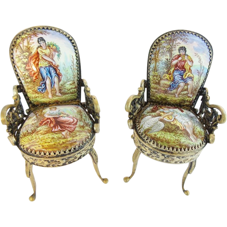 "Antique Viennese Enamel Miniature Chairs ""SWAN"""