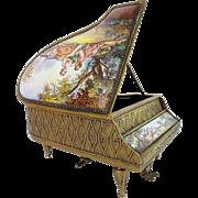 "Antique Austrian Enamel Musical Piano Harpsichord ""Artist Signed"""