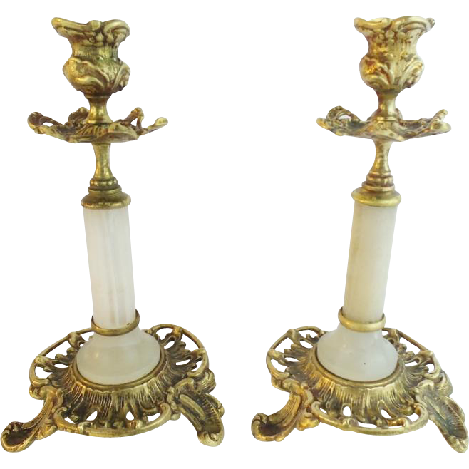 "Exquisite Antique French Bronze and Alabaster Candlesticks ""PAIR"""