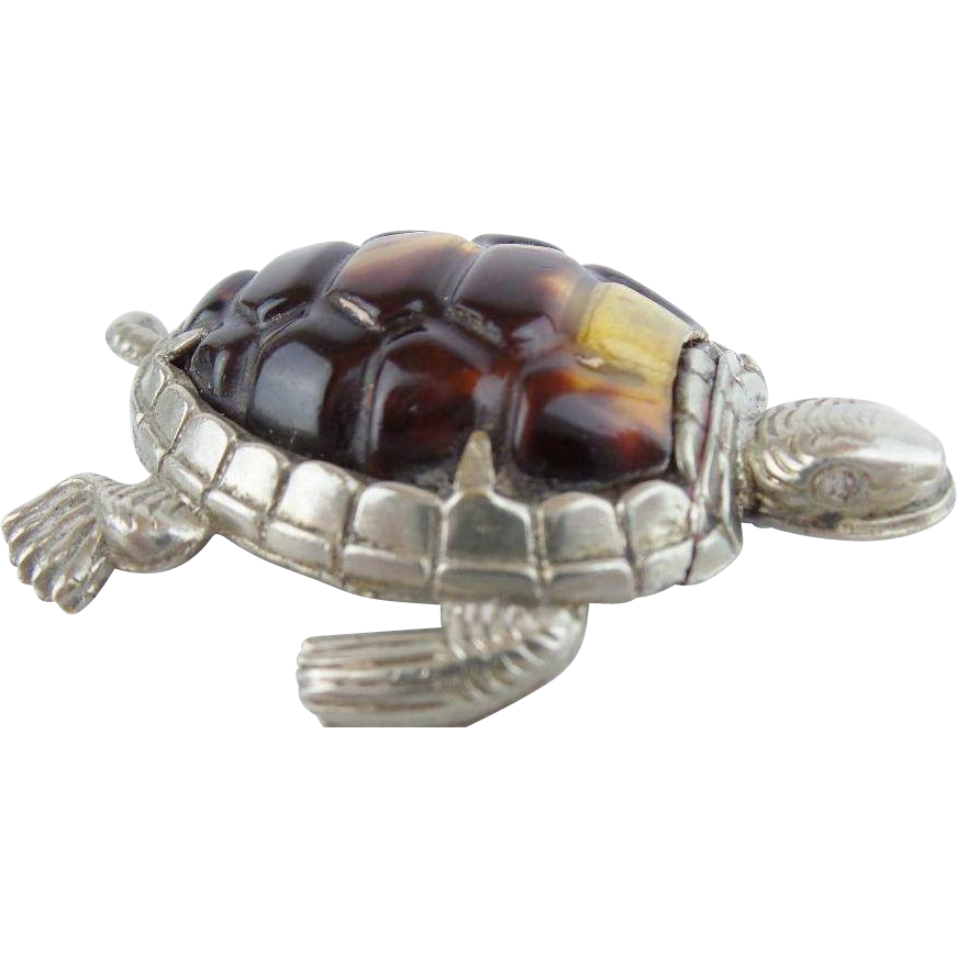 Antique Turtle Silver Match Safe