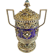 "Antique Jeweled Enamel Covered Silver Double Handle Urn ""PEARLS,GARNETS,EMERALDS &JADE"
