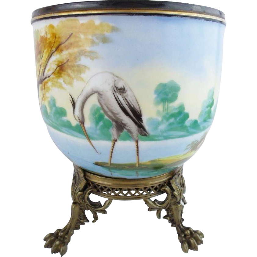 "BIG Antique Porcelain Cachepot Jardiniere "" EGRET,DUCKS,TREES & POND """