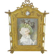 "Fabulous Antique French Bronze Mother of Pearl Frame ""LOVELY MINIATURE"""