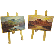 PAIR Grand Tour Miniature Paintings on Bronze w Easel Backs. - Red Tag Sale Item