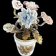 """Antique French Porcelain Flower Pot """"TINY PORCELAIN FLOWERS"""""""