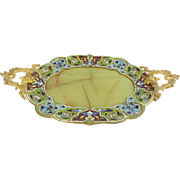 "LAYAWAY Antique French Champleve & Green Onyx Footed Tray""EXQUISITE HANDLES"""