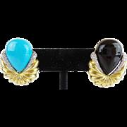 "Estate  18Karat Diamond Black Onyx and Turquoise Earrings ""Interchangeable"""