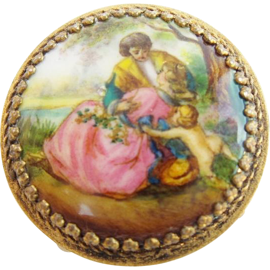 "Antique Austria Enamel Miniature Round Table/ Stool  "" Pastoral Scenes w/ Putti"""
