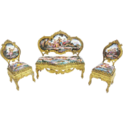 "Antique Viennese Enamel Miniature Parlor Set   ""Extraordinary Pastoral Scenes"""