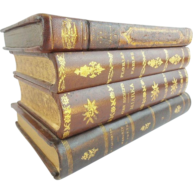 """Antique French """"Leather Bound Books"""" Hinged Box"""