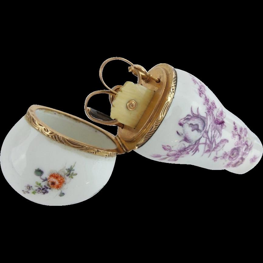 """Antique Porcelain Necessaire Etui  """"12K PIECES"""""""