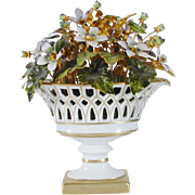 Jane Hutcheson Enamel Flowers in a Lovely White  Porcelain Basket