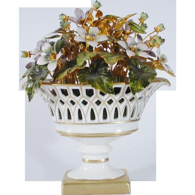 Jane Hutcheson Enamel Flowers in a Lovely White  Porcelain Basket