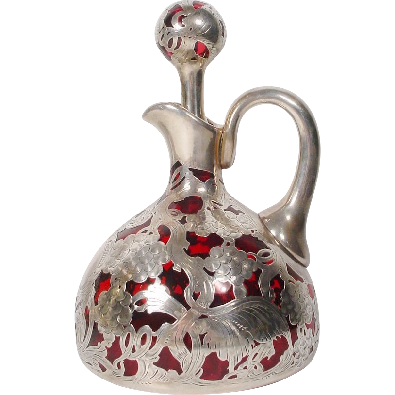 "Magnificent Antique Ruby Sterling Overlay Jug ""BIG"""