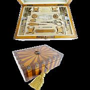 "Antique Wood and Cut Steel Etui Box  ""GRANDEST"""